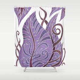 Leaf - Exotic Boho Leaf Pattern 02- Colorful, Modern, Tropical Art - Purple, Cosmic, Jagger Shower Curtain
