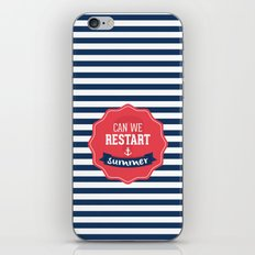Can we restart summer nautical text quote white and blue stripes pattern iPhone & iPod Skin