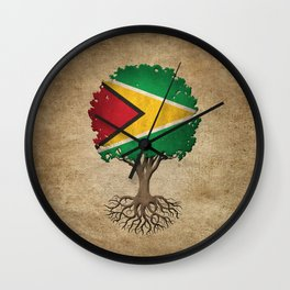 Vintage Tree of Life with Flag of Guyana Wall Clock