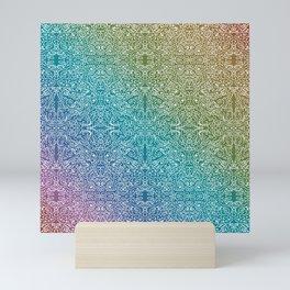 muted rainbow doodle gradient pattern Mini Art Print