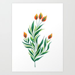 Abstract Green Plant With Orange Buds Art Print