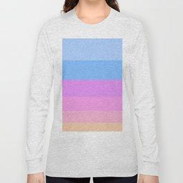 Neon Pastel Pink & Blue Sunset Colors Colour Block Stripes Long Sleeve T-shirt