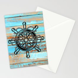 Rustic Woodgrain Weathered Teal Blue Ship Wheel Stationery Cards