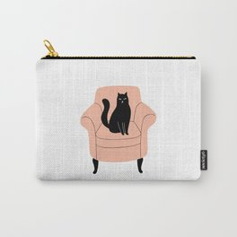 black cat on a chair Carry-All Pouch