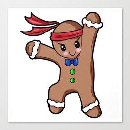 Gingerbread Man Christmas Present Gift Baking Cartoon Canvas Print