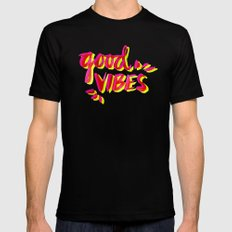 Good Vibes – Pink & Yellow Mens Fitted Tee Black MEDIUM