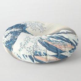 The Great Wave off Kanagawa by Katsushika Hokusai from the series Thirty-six Views of Mount Fuji Floor Pillow