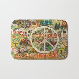 Peace Sign - Love - Graffiti Bath Mat