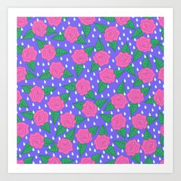 Raindrops and Roses - Pink and Blue Art Print