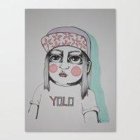 yolo Canvas Prints featuring Yolo  by Agnes Emilia