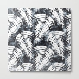 Maui Palm Black and White Metal Print