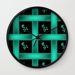 Teal Skull Pattern Wall Clock