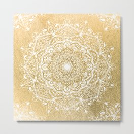 NATURE DETAILS MANDALA IN GOLD Metal Print