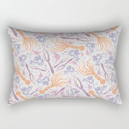 Orange squid with pink fish amoung blue bubble Rectangular Pillow