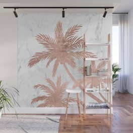 Tropical simple rose gold palm trees white marble Wall Mural