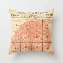 Vintage Paris City Centre Map Throw Pillow