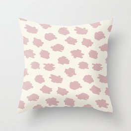 Painted Abstract Spots in Pink on Cream Throw Pillow
