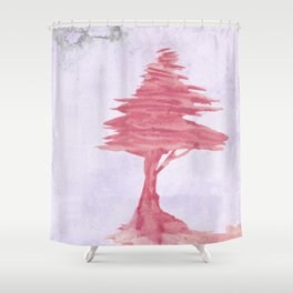 Red Tree watercolor on old paper Shower Curtain