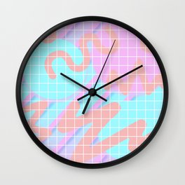 Fuzz Fly By 80s Background Wall Clock