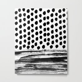 Zoe - Black and white dots, stripes, painted, painterly, hand-drawn, bw, monochrome trendy design Metal Print