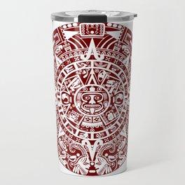 Mayan Calendar // Burgundy Travel Mug