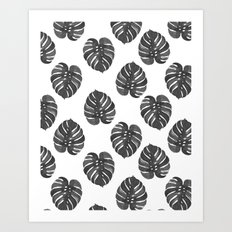 Monstera house plant leaf black and white painting  hipster indoor house plant tropical garden   Art Print