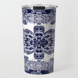 Blue Floral Damask Travel Mug