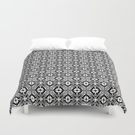 Moroccan Tile Pattern in Black and White Duvet Cover