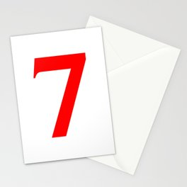 7 (RED & WHITE NUMBERS) Stationery Cards