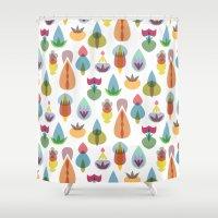 vector Shower Curtains featuring Vector Garden by Michal Gorelick