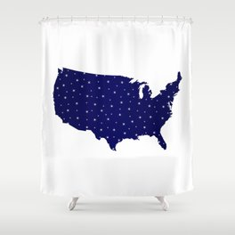 USA Map Star Silhouette Shower Curtain