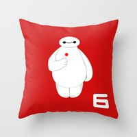 big hero 6 Throw Pillows featuring Big Hero 6 - Baymax by brit eddy