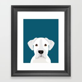 White Boxer pet portrait cute dog lover rescue dog lover Boxers portrait dog breeds Framed Art Print