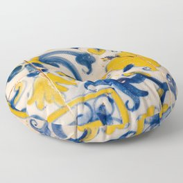 Portuguese azulejos, city of Ericeira Floor Pillow