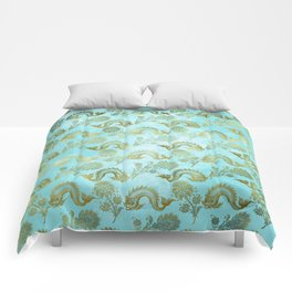 Mermaid Ocean Whale Friends - Teal And Gold Pattern Comforters