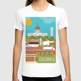 Columbia, South Carolina - Skyline Illustration by Loose Petals T-shirt
