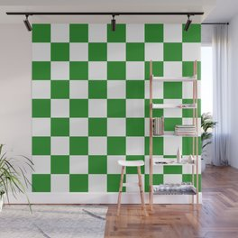 Checker (Forest Green/White) Wall Mural