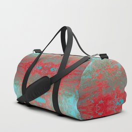 texture - aqua and red paint Duffle Bag