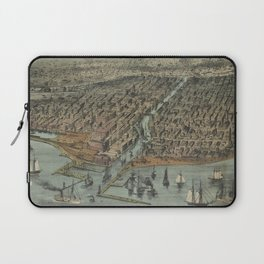 Vintage Pictorial Map of Chicago IL (1907) Laptop Sleeve
