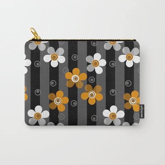 Black and yellow floral pattern on a striped background . Carry-All Pouch