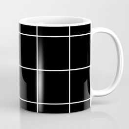 white grid on black background - Coffee Mug