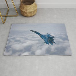 SU-27 Flanker Above The Clouds Rug