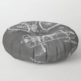 Bike Patent - Bicycle Art - Black Chalkboard Floor Pillow