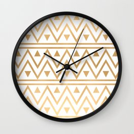 White & Gold Chevron Pattern Wall Clock