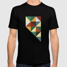 Geometric Nevada Mens Fitted Tee MEDIUM Black
