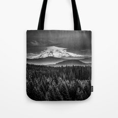 Mountains and Forest - Black and White Mt Hood with Forest Tote Bag