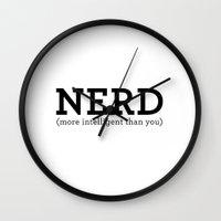 nerd Wall Clocks featuring Nerd by ItsJessica