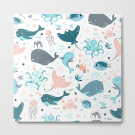 Cute seamless pattern with fish Metal Print