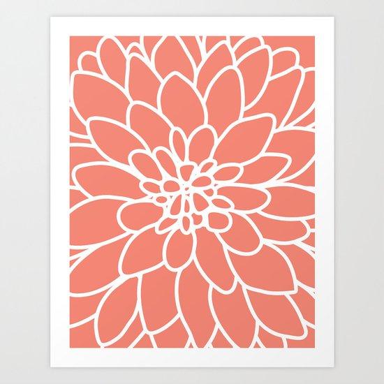 Coral Modern Dahlia Flower Art Print
