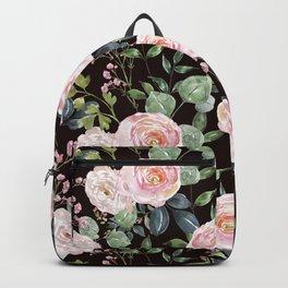 Blush Pink Roses Botanical Floral Print pattern  Green Leaves Gentle Flowers Illustration Art Print Wallpaper Backpack